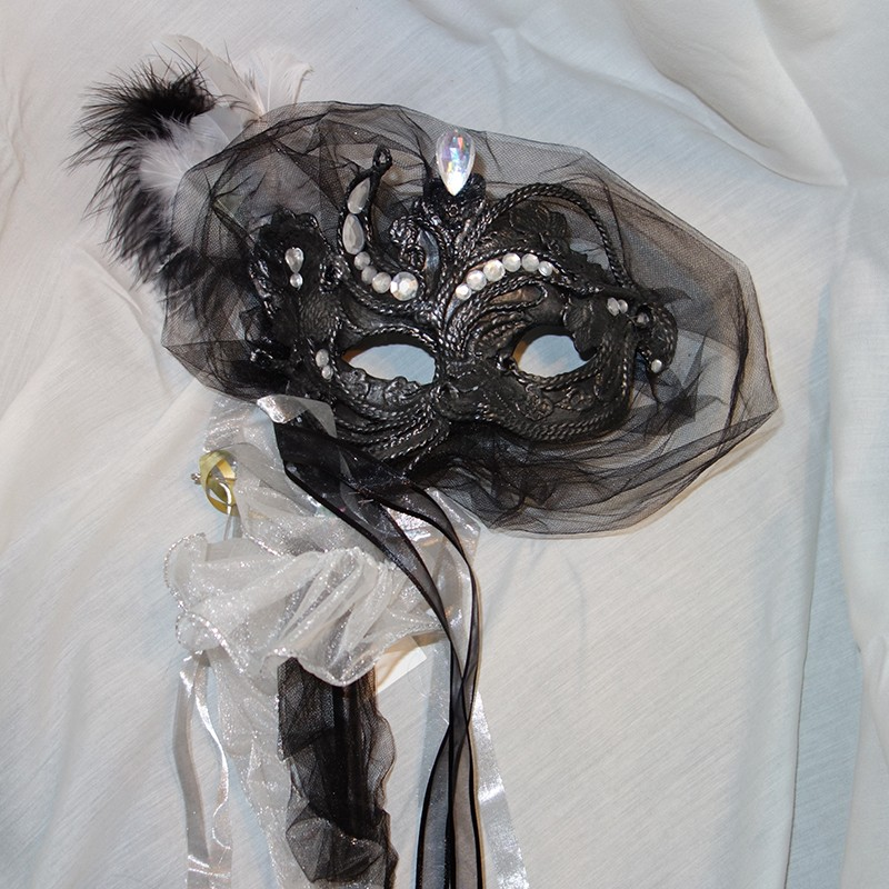 Feathers On Stick New Black mask with Silver Trim